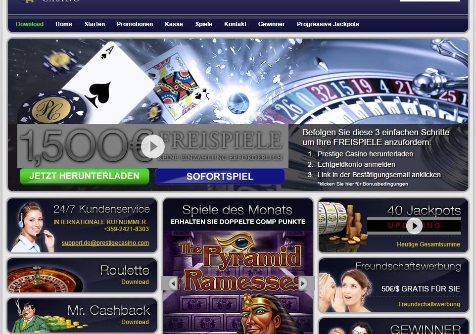 Prestige Casino 1500€ Gratisdrehungen