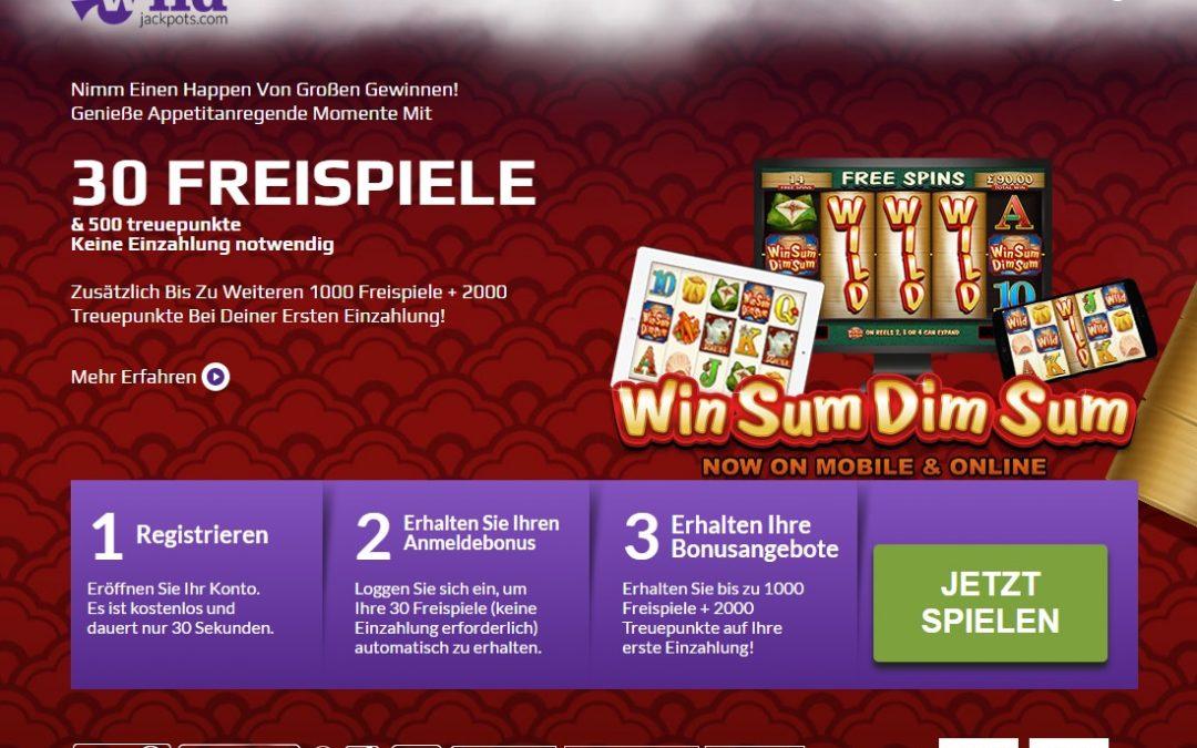 30 freispiele Win Sum Dim Sum bei Wild Jackpots