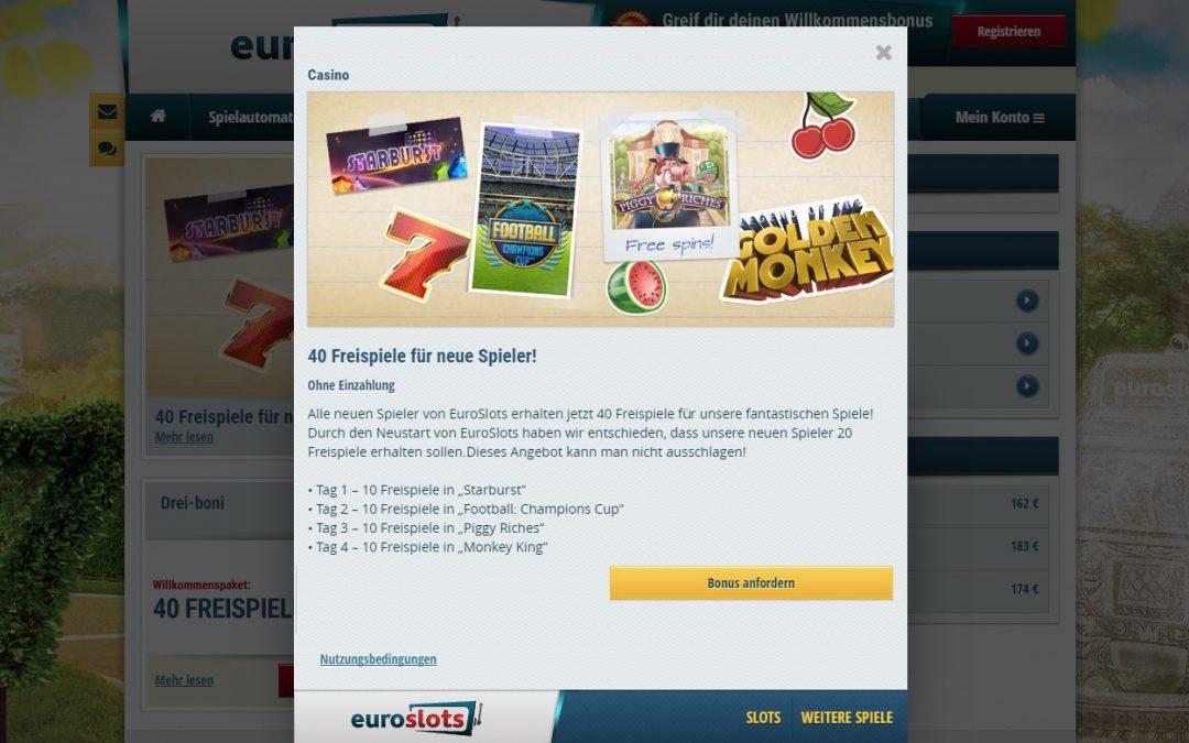 40 gratis drehungen EuroSlots casino