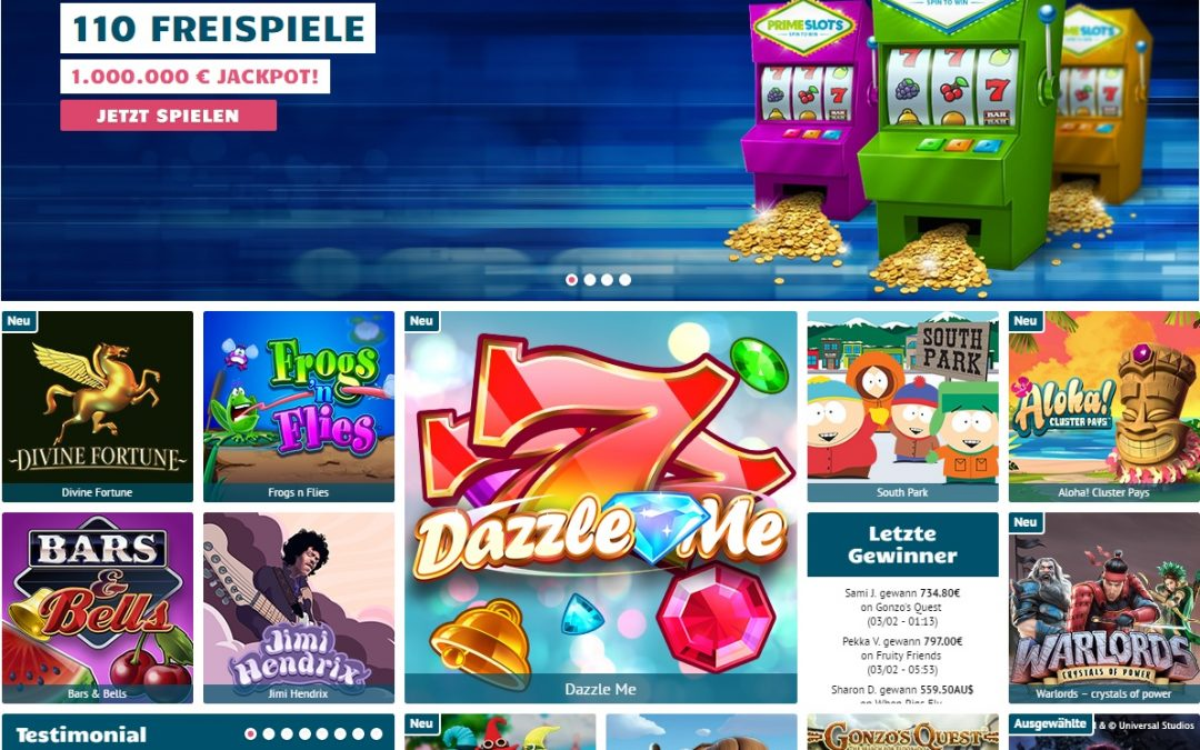 Prime Slots Casino 110 Freispiele ohne einzahlung