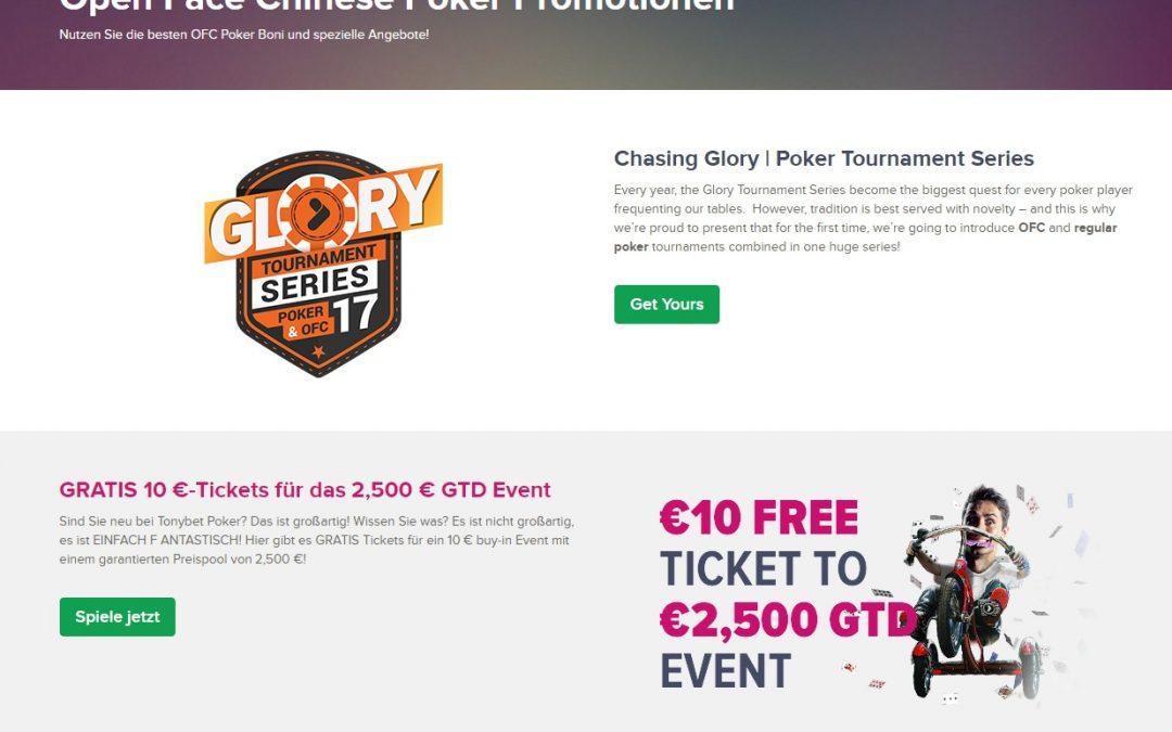 Tonybet poker 10€ ticket für das 2500€ GTD event