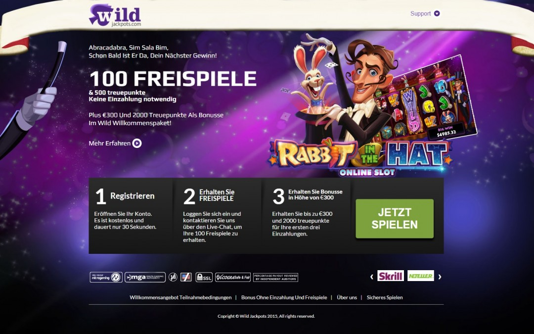Wild Jackpots 100 freispiele Rabbit in the Hat